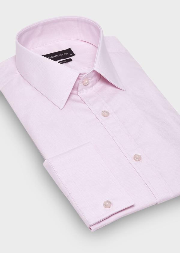 Chemise habillée Slim en coton façonné uni rose pâle - Father and Sons 28664