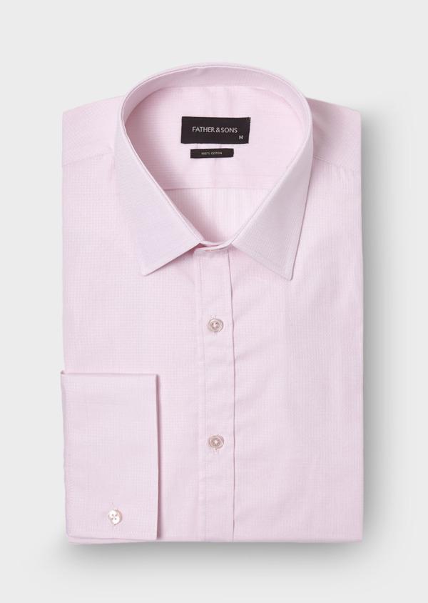 Chemise habillée Slim en coton façonné uni rose pâle - Father and Sons 28663