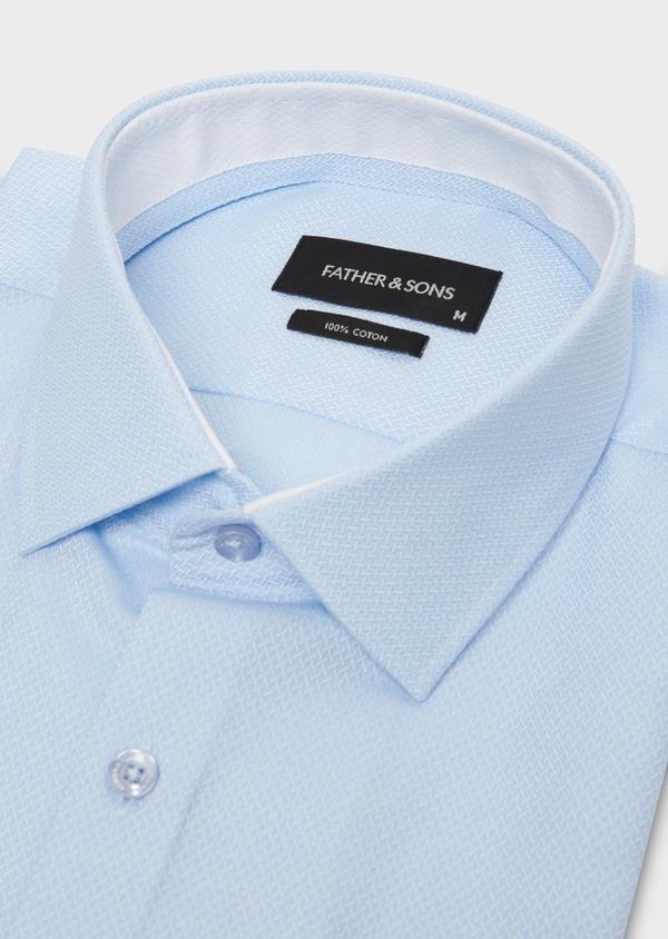 Chemise manches courtes Slim en coton tissé jacquard à motifs bleus - Father and Sons 18235