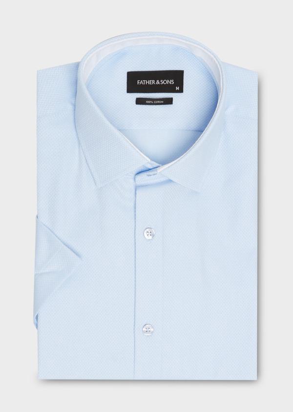 Chemise manches courtes Slim en coton tissé jacquard à motifs bleus - Father and Sons 18234