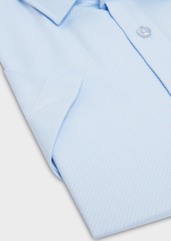 Chemise manches courtes Slim en coton tissé jacquard à motifs bleus - Father and Sons 18236
