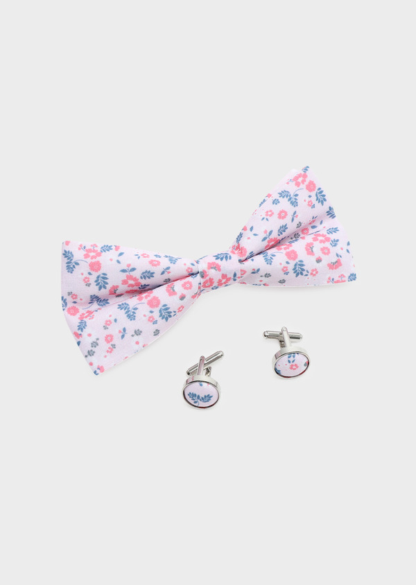 Coffret noeud-papillon et boutons de manchettes rose à motif fleuri bleu - Father and Sons 32614
