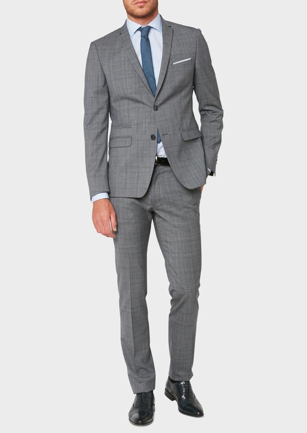 Costume 2 pièces Regular en laine bleu gris Prince de Galles - Father and Sons 32671