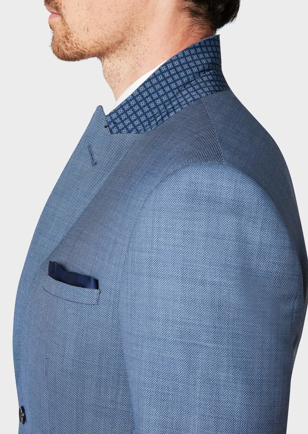 Costume 2 pièces Regular en laine unie bleu chambray - Father and Sons 32729
