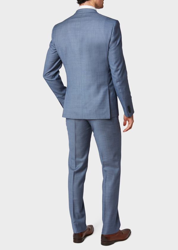 Costume 2 pièces Regular en laine unie bleu chambray - Father and Sons 32728