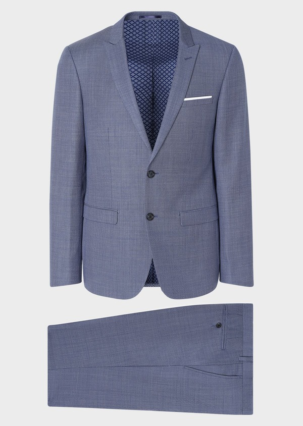 Costume 2 pièces Regular en laine unie bleu chambray - Father and Sons 32725