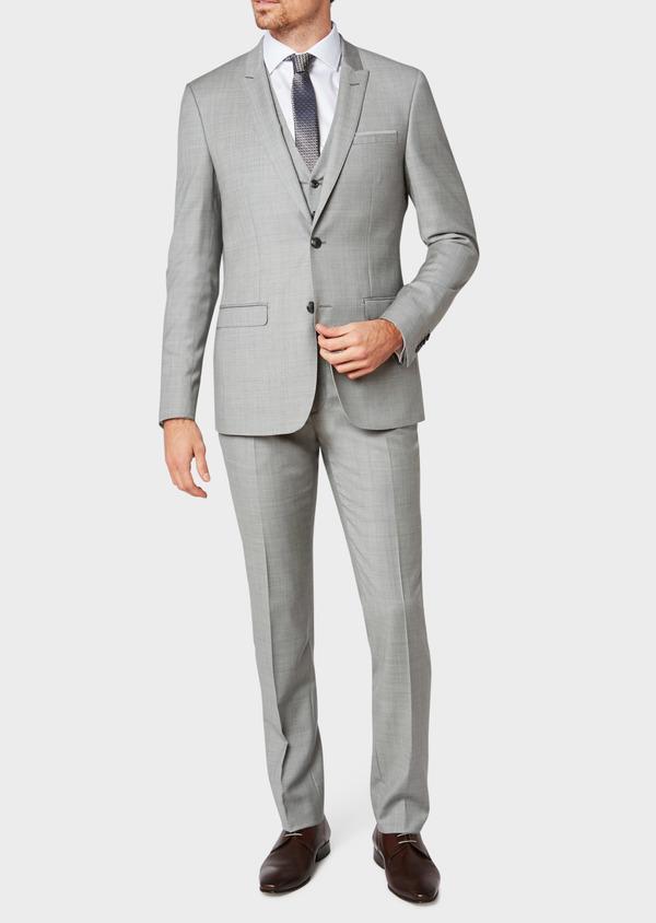 Costume 2 pièces Regular en laine unie gris clair - Father and Sons 32699