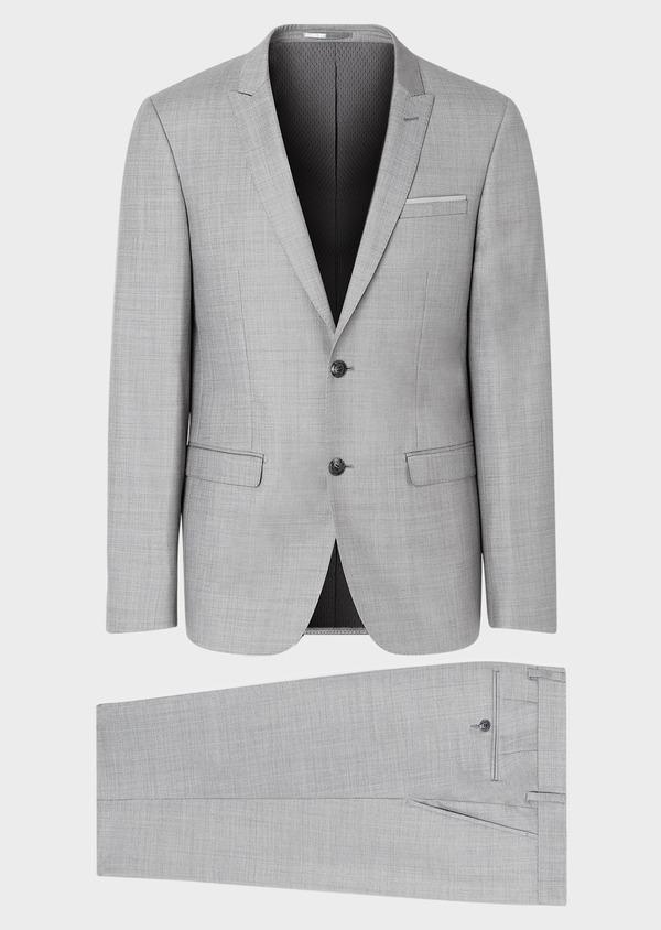Costume 2 pièces Regular en laine unie gris clair - Father and Sons 32697