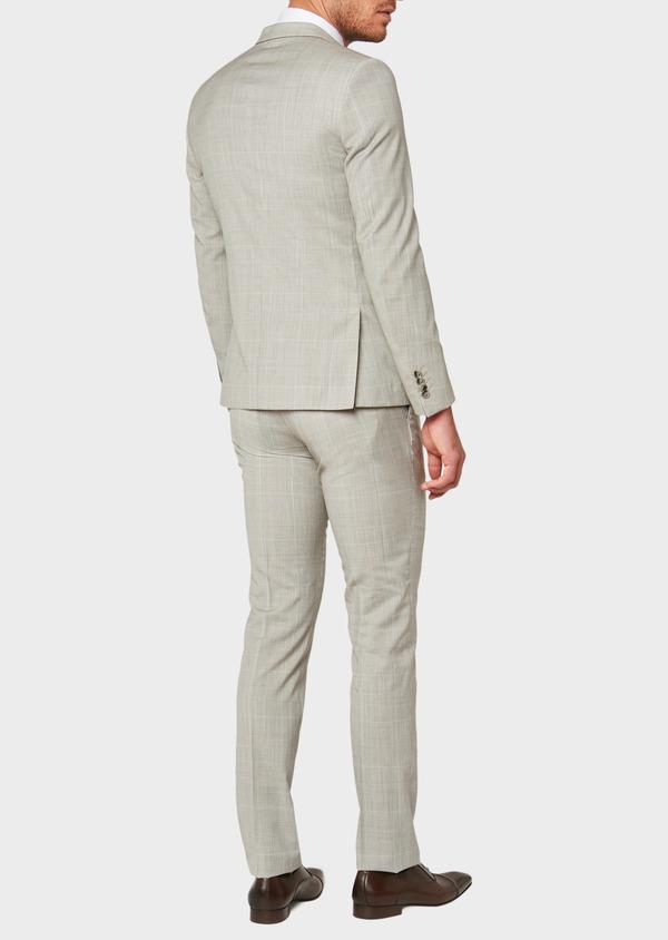 Costume 2 pièces Slim en laine beige Prince de Galles - Father and Sons 32707