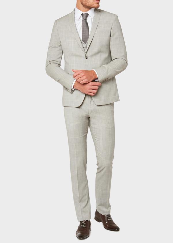 Costume 2 pièces Slim en laine beige Prince de Galles - Father and Sons 32706