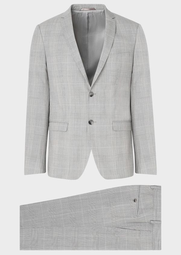 Costume 2 pièces Slim en laine beige Prince de Galles - Father and Sons 32704