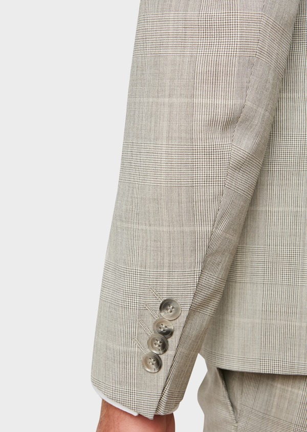 Costume 2 pièces Slim en laine beige Prince de Galles - Father and Sons 32709