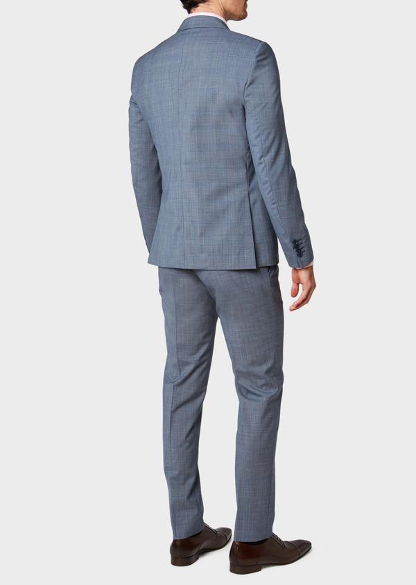 Costume 2 pièces Slim en laine bleu chambray Prince de Galles - Father and Sons 32735