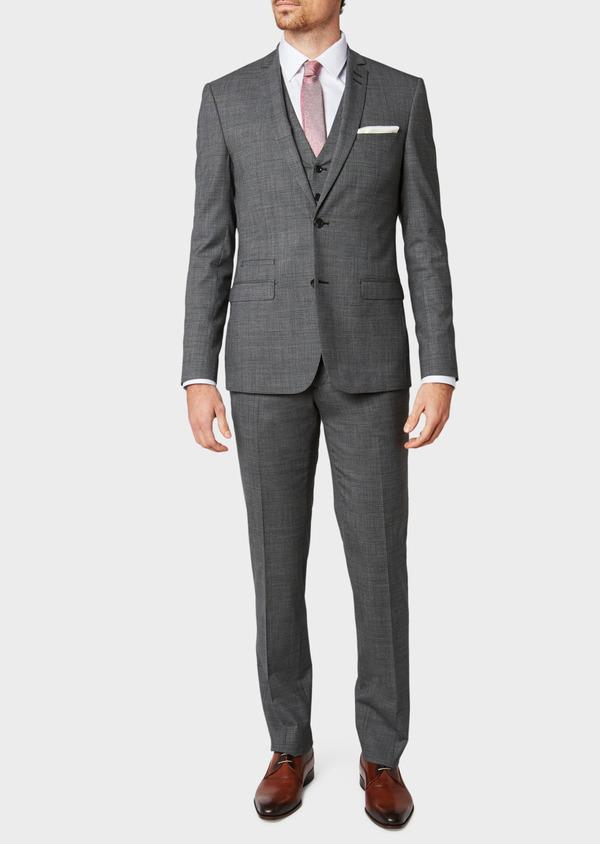 Costume 2 pièces Slim en laine stretch grise Prince de Galles - Father and Sons 32685