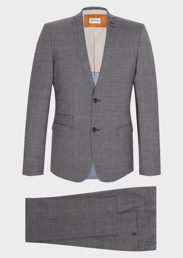 Costume 2 pièces Slim en laine stretch grise Prince de Galles - Father and Sons 32683