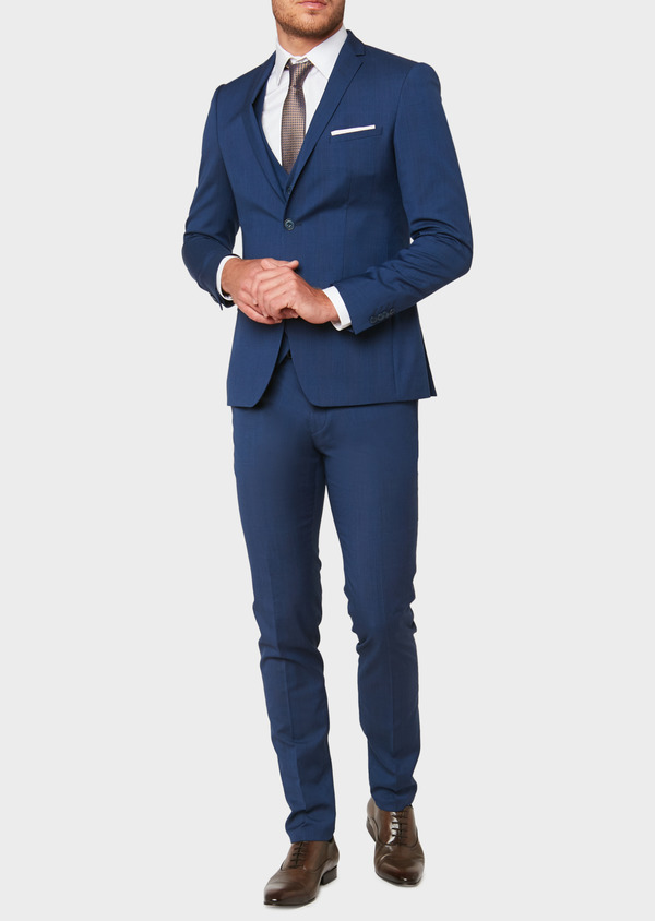 Costume 2 pièces Slim en laine bleu indigo Prince de Galles - Father and Sons 32757