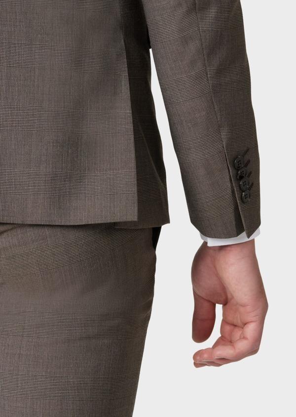 Costume 2 pièces Slim en laine marron Prince de Galles - Father and Sons 34145