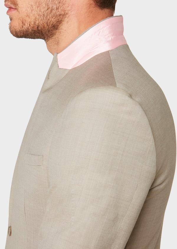 Costume 2 pièces Slim en laine façonnée unie beige - Father and Sons 32715