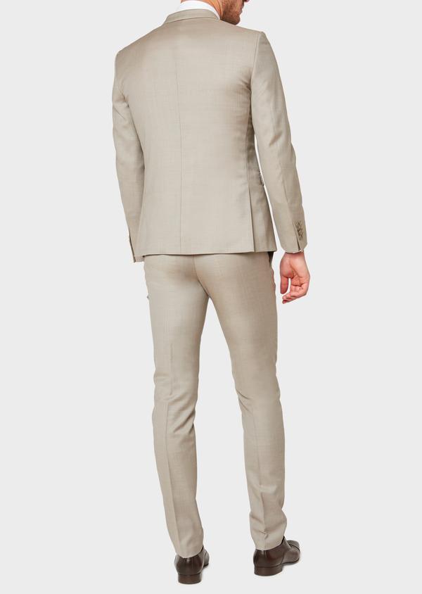 Costume 2 pièces Slim en laine façonnée unie beige - Father and Sons 32714