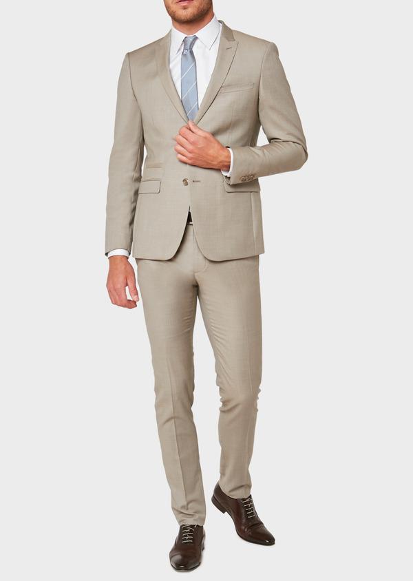 Costume 2 pièces Slim en laine façonnée unie beige - Father and Sons 32713