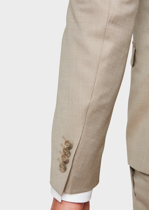Costume 2 pièces Slim en laine façonnée unie beige - Father and Sons 32716