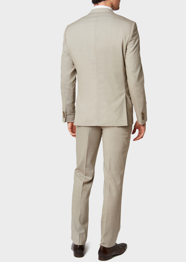 Costume 2 pièces Slim en laine unie beige - Father and Sons 32721