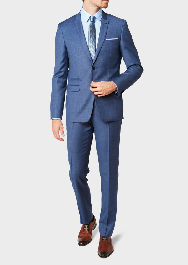 Costume 2 pièces Slim en laine unie bleu glacier - Father and Sons 32643
