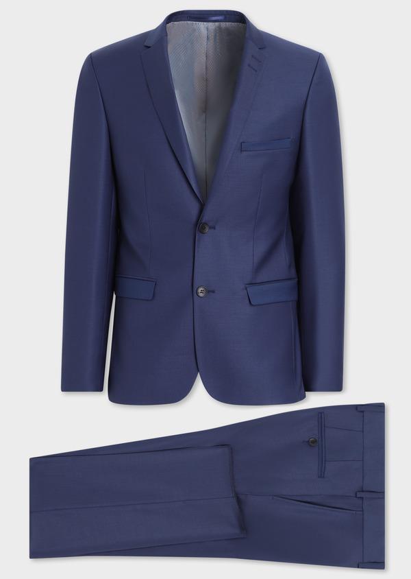 Costume 2 pièces Slim en laine unie bleu indigo - Father and Sons 36499