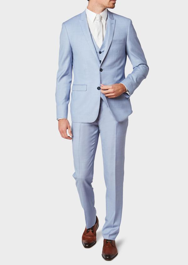 Costume 2 pièces Slim en laine unie bleu ciel - Father and Sons 32629