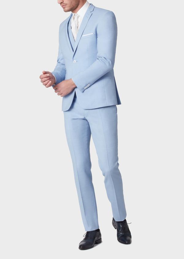Costume 2 pièces Slim en laine unie bleu ciel - Father and Sons 33806