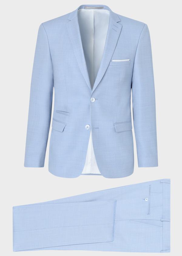 Costume 2 pièces Slim en laine unie bleu ciel - Father and Sons 33804