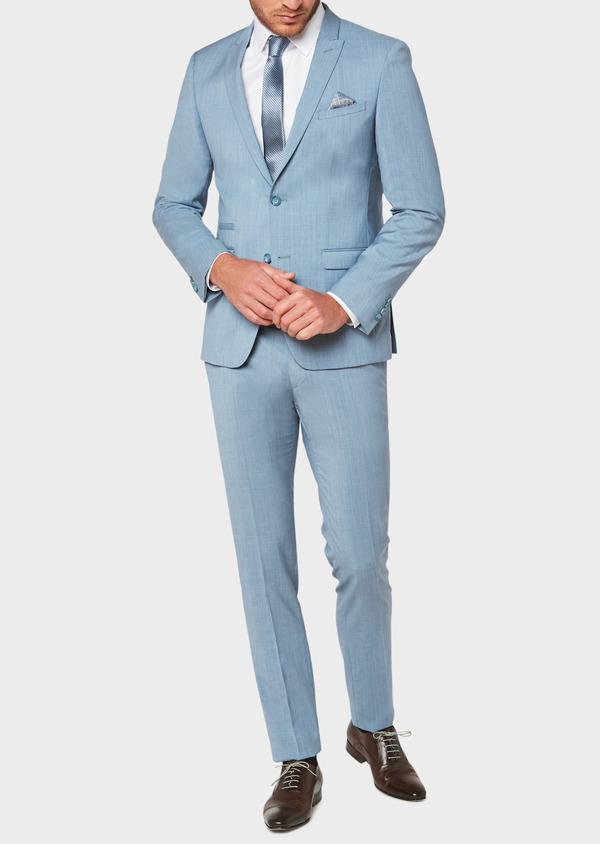Costume 2 pièces Slim en laine unie bleu gris - Father and Sons 32664