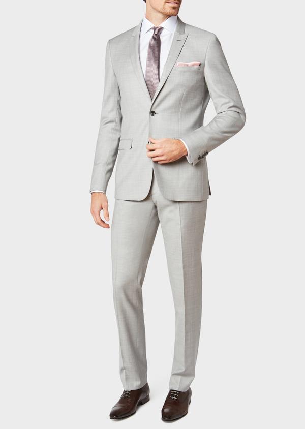 Costume 2 pièces Slim en laine unie gris clair - Father and Sons 32692