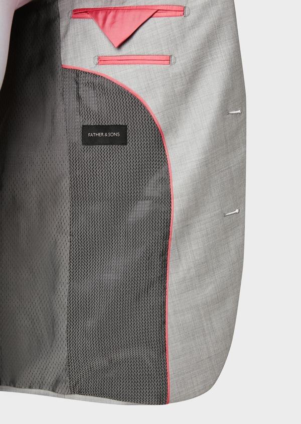Costume 2 pièces Slim en laine unie gris clair - Father and Sons 32696
