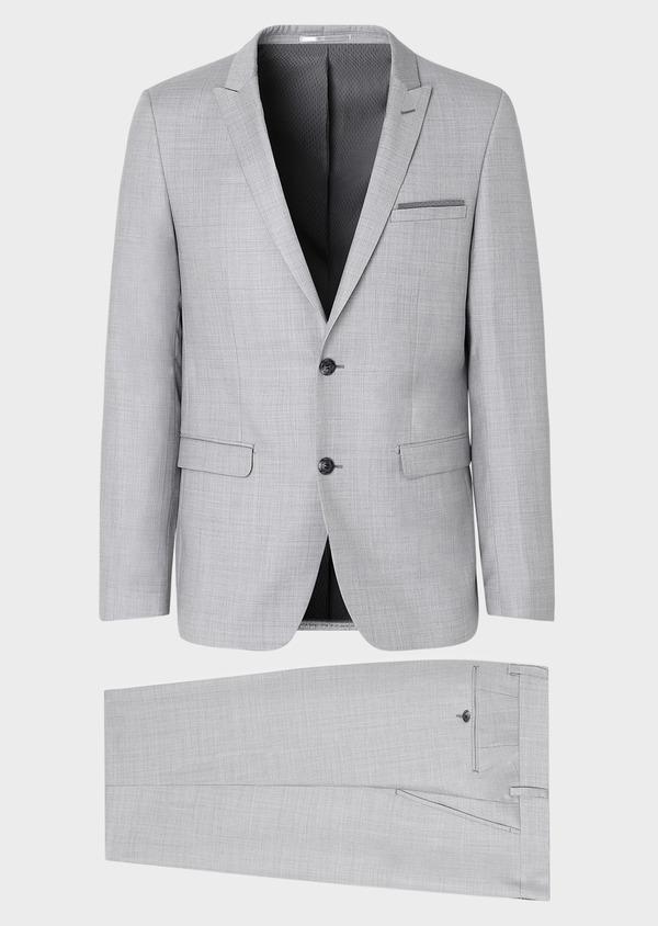 Costume 2 pièces Slim en laine unie gris clair - Father and Sons 32690