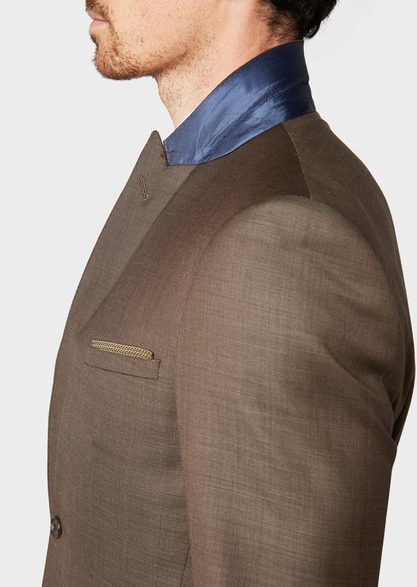 Costume 2 pièces Slim en laine unie marron - Father and Sons 32745