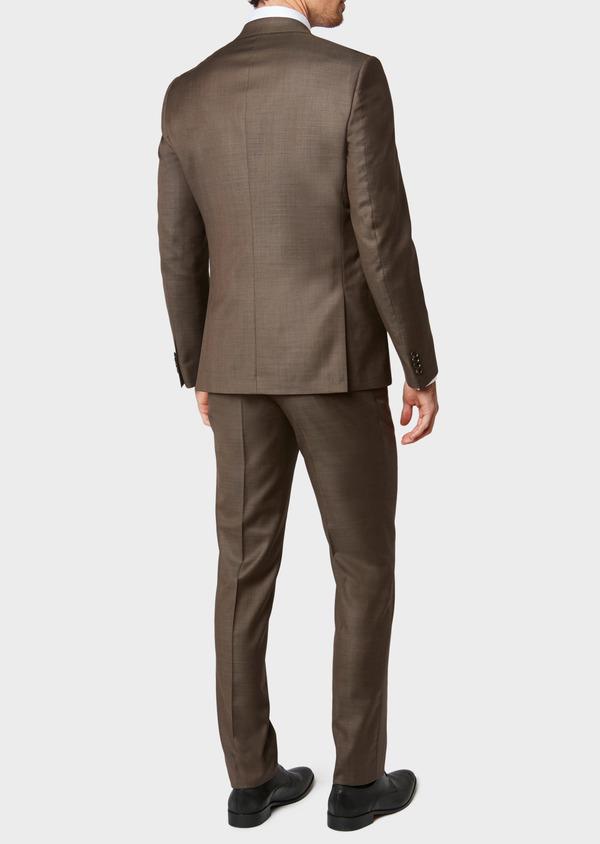 Costume 2 pièces Slim en laine unie marron - Father and Sons 32744