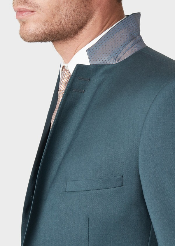Costume 2 pièces Slim en laine unie vert foncé - Father and Sons 33815