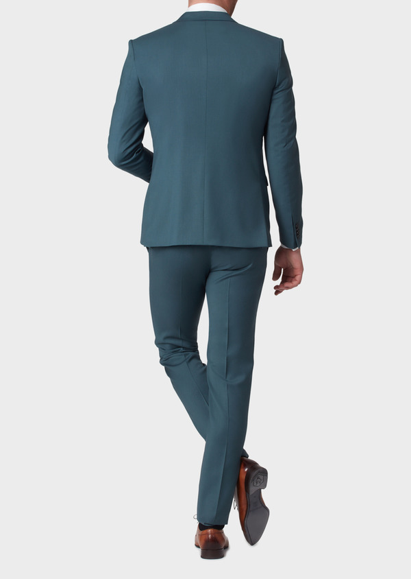 Costume 2 pièces Slim en laine unie vert foncé - Father and Sons 33814
