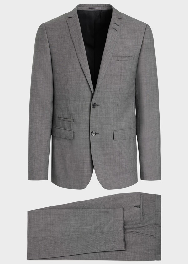Costume 2 pièces Regular en laine stretch naturelle unie grise - Father and Sons 35095