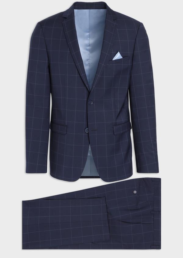 Costume 2 pièces Slim en laine mélangée stretch bleu marine à carreaux - Father and Sons 35955