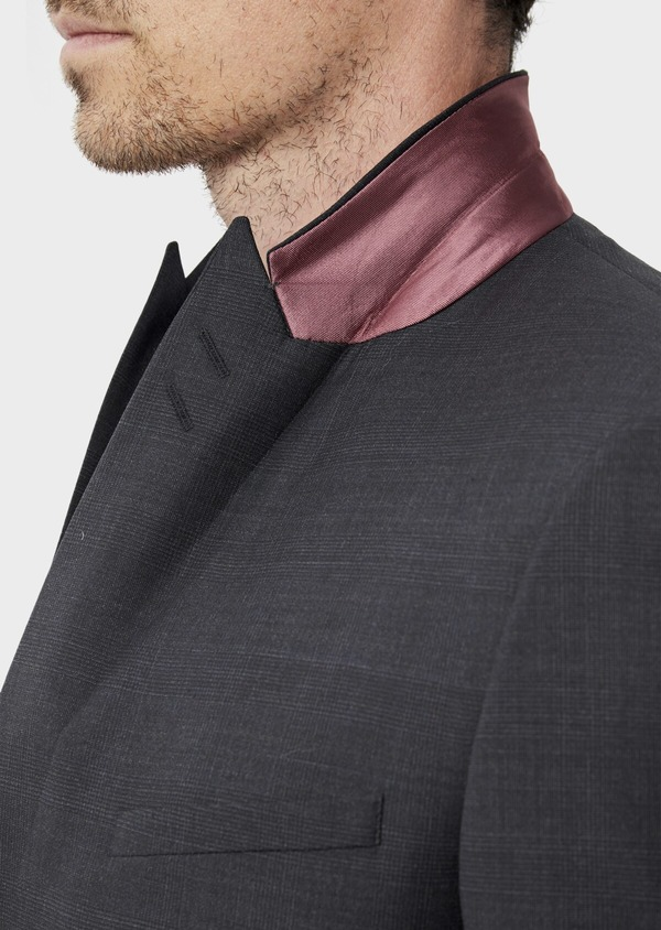 Costume 2 pièces Slim en laine mélangée stretch gris anthracite Prince de Galles - Father and Sons 35013