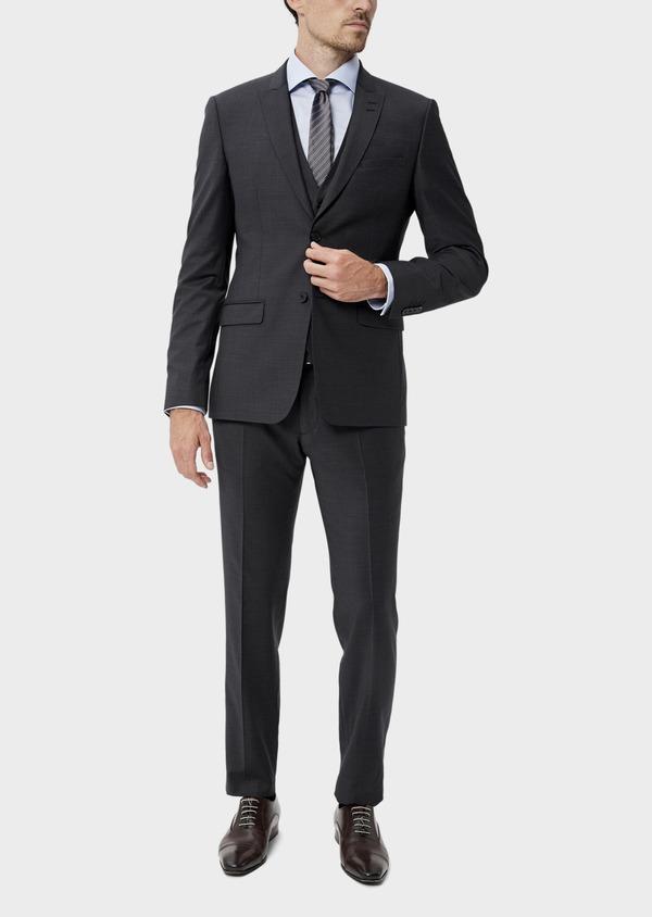 Costume 2 pièces Slim en laine mélangée stretch gris anthracite Prince de Galles - Father and Sons 35011