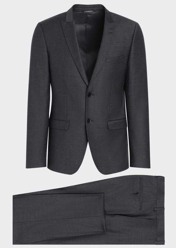 Costume 2 pièces Slim en laine mélangée stretch gris anthracite Prince de Galles - Father and Sons 35009