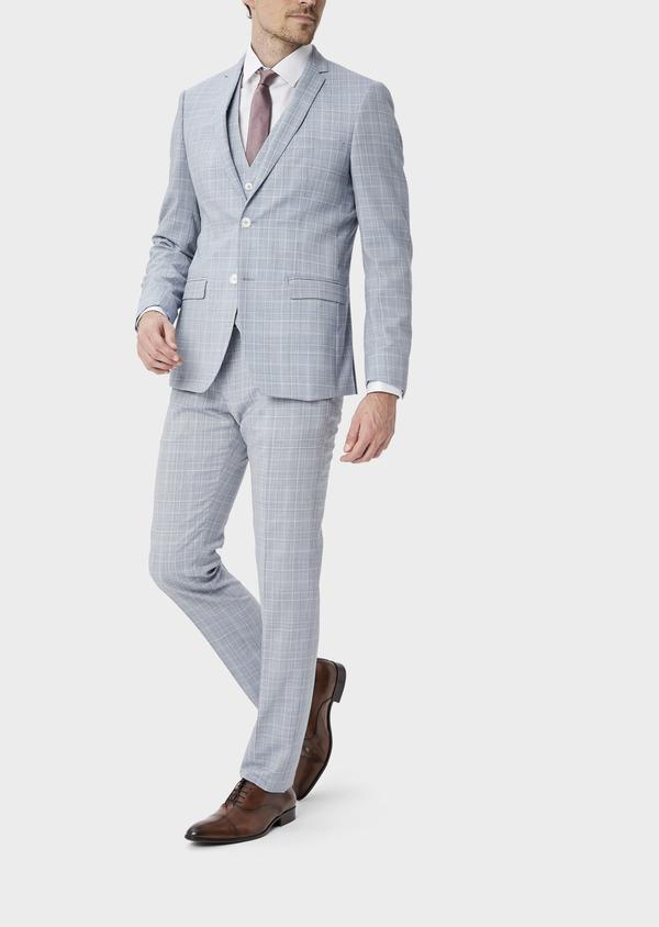 Costume 2 pièces Slim en laine mélangée bleu clair Prince de Galles - Father and Sons 39812