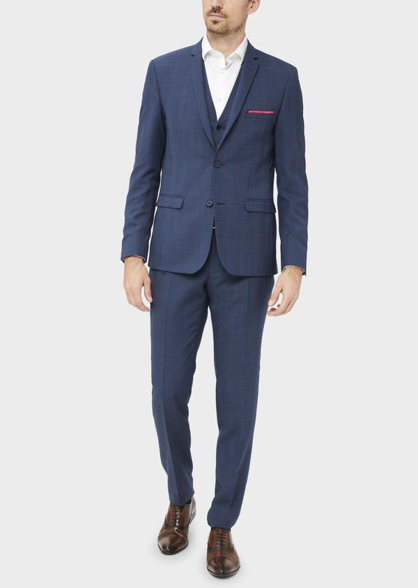 Costume 2 pièces Slim en laine bleue Prince de Galles - Father and Sons 36875