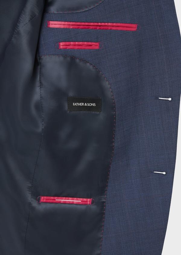 Costume 2 pièces Slim en laine bleue Prince de Galles - Father and Sons 36879