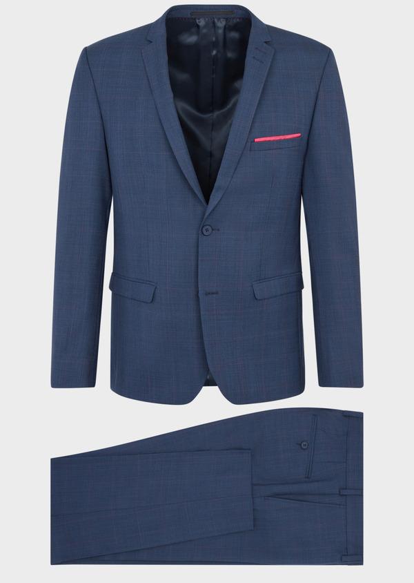 Costume 2 pièces Slim en laine bleue Prince de Galles - Father and Sons 36873