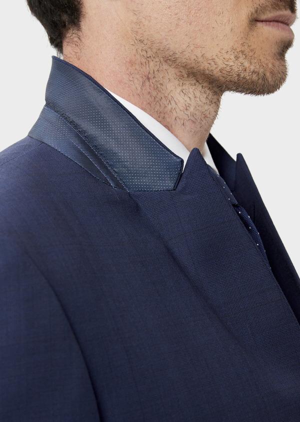 Costume 2 pièces Slim en laine strech naturelle bleue Prince de Galles - Father and Sons 35050