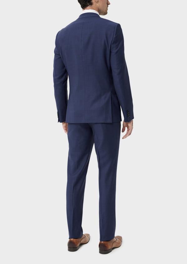 Costume 2 pièces Slim en laine strech naturelle bleue Prince de Galles - Father and Sons 35049